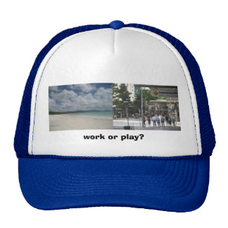 Work or play? mesh hat