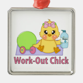Work Out Chick Christmas Tree Ornament