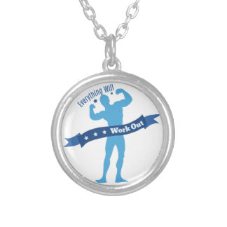 Work Out Round Pendant Necklace