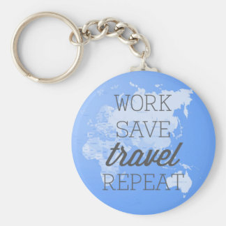 Work Save Travel Repeat Basic Round Button Key Ring