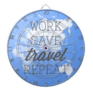 Work Save Travel Repeat Dartboard