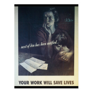 Work Saves Lives World War 2 Postcard