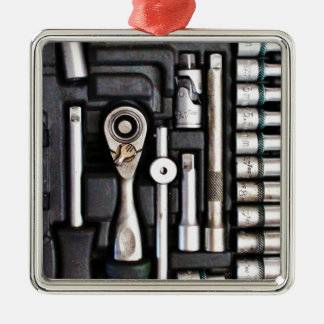 Work Toolbox - Industrial Print Silver-Colored Square Decoration