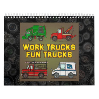 Work Trucks Fun Trucks Wall Calendar