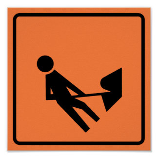 Work Zone Highway Construction Sign Poster