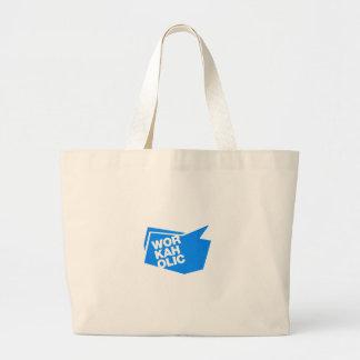 workaholic - blue canvas bags