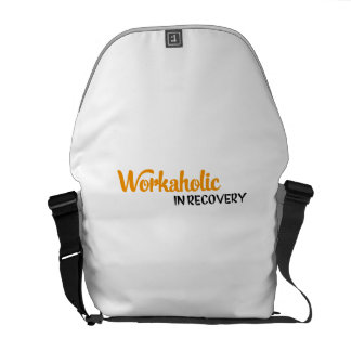 workaholic in recovery messenger bag