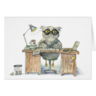 Workaholic night owl greeting card