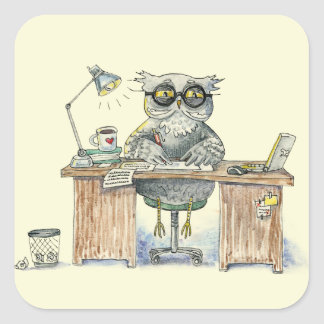 Workaholic night owl square sticker