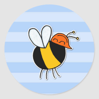 worker bee - builder round sticker