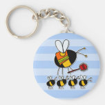 worker bee - crossing guard basic round button key ring