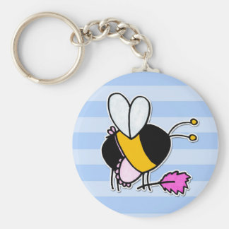 worker bee - maid basic round button key ring