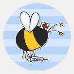 worker bee - nurse round sticker