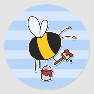 worker bee - painter classic round sticker