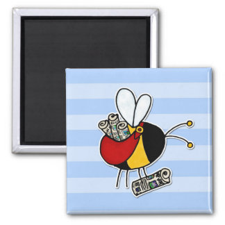 worker bee - paperboy square magnet