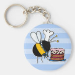 worker bee - pastry chef basic round button key ring