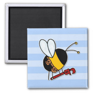 worker bee - plumber square magnet