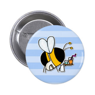 worker bee - waitress 6 cm round badge