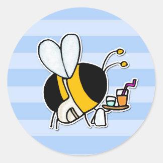 worker bee - waitress round sticker
