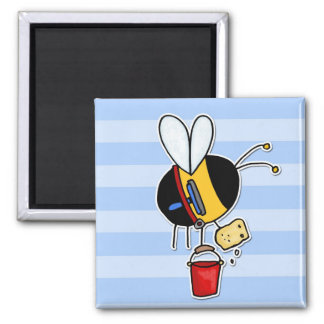 worker bee - window cleaner square magnet