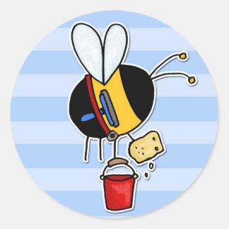 worker bee - window cleaner round sticker