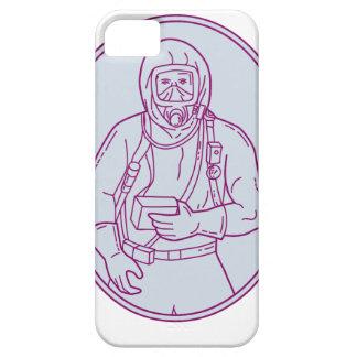 Worker Haz Chem Suit Oval Mono Line iPhone 5 Cases