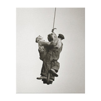 Workers Lifted by Crane 1935 Stretched Canvas Print
