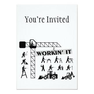 Workin It Blue Collar Workers 13 Cm X 18 Cm Invitation Card