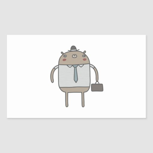 Working Bear Rectangle Stickers