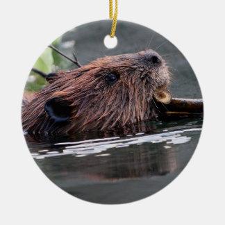 working beaver round ceramic decoration