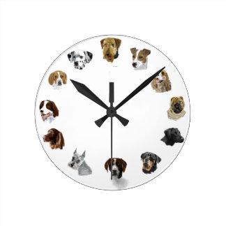 Working dogs hand drawn round clock