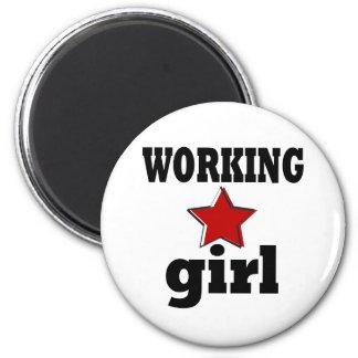 Working Girl 6 Cm Round Magnet
