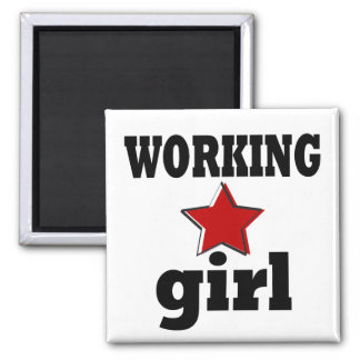 Working Girl Square Magnet