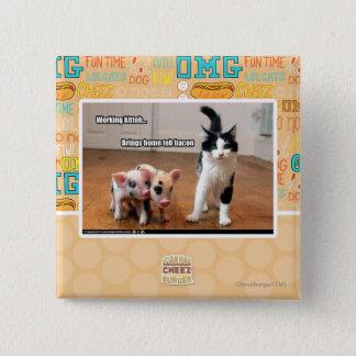 Working kitteh 15 cm square badge