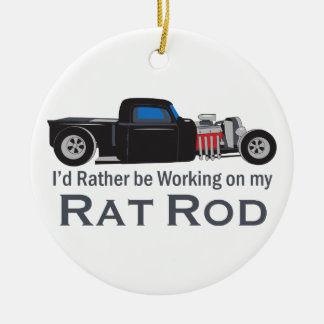 Working On Rat Rod Round Ceramic Decoration