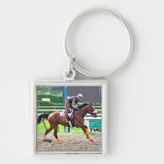 Working Out in Style at Saratoga Silver-Colored Square Key Ring