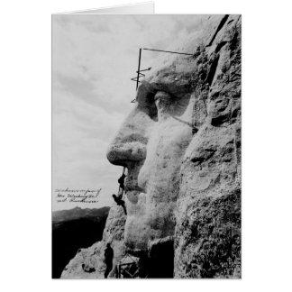 Workmen on George Washington Face Mount Rushmore Card