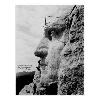 Workmen on George Washington Face Mount Rushmore Postcard