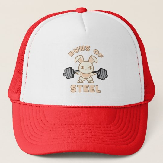 288291967738a Workout Bunny Cartoon - Buns Of Steel - Funny Gym Trucker Hat ...