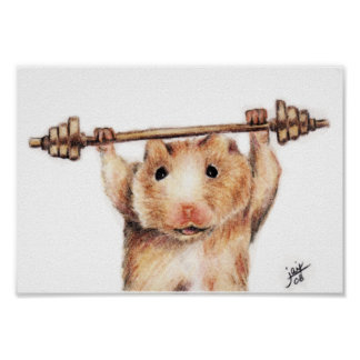 Workout (Hamster) Poster Print