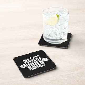 Workout Motivation - Build Yourself - Barbell Drink Coaster