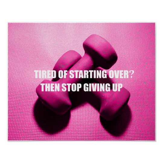 Workout Motivation Quote Don't Give Up | Weights Poster