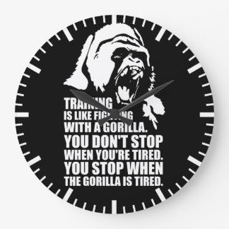 Workout Motivation - Training - Fighting A Gorilla Large Clock