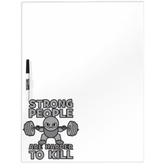 Workout - Strong People Are Harder To Kill, Kawaii Dry Erase Board