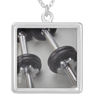 Workout weights silver plated necklace