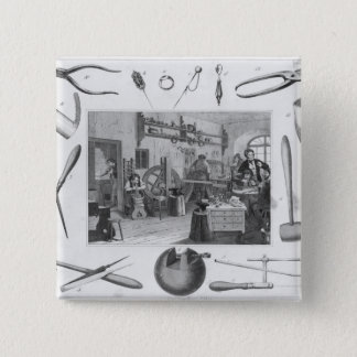 Workshop and main tools of jewellery, 1810 15 cm square badge
