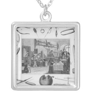 Workshop and main tools of jewellery, 1810 silver plated necklace