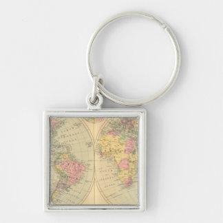 World 10 Silver-Colored square key ring