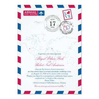 World Airmail USA & Santorini Greece   Wedding 13 Cm X 18 Cm Invitation Card