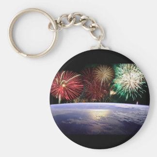 World and Fireworks Basic Round Button Key Ring